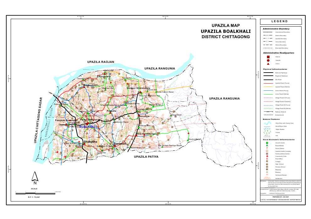Boalkhali Upazila Map Chittagong District Bangladesh