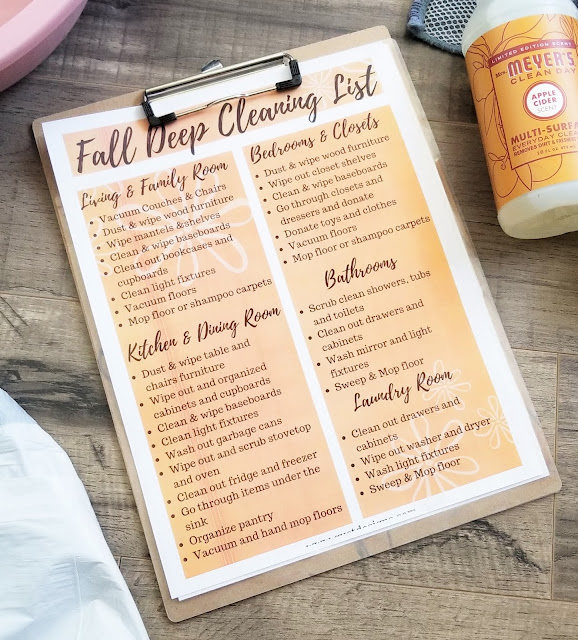 fall deep cleaning checklist