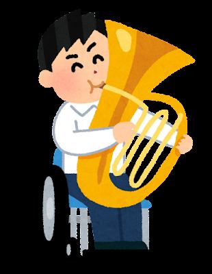 チューバを演奏する学生のイラスト(車椅子の吹奏楽)