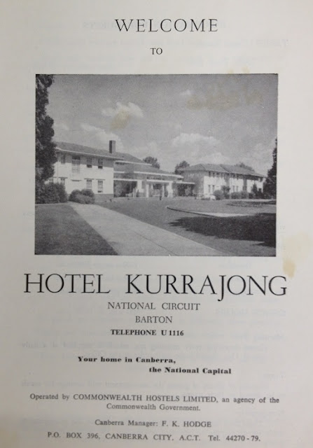 Brochure advertising the Kurrajong Hotel in the 1960s