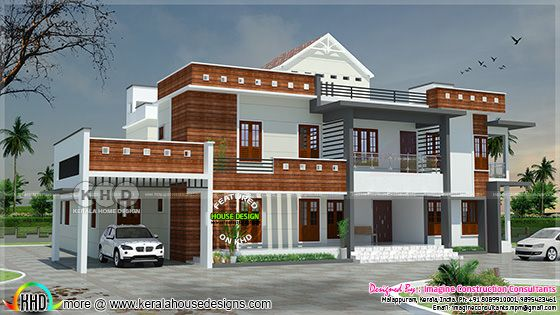6 bedroom modern luxury home plan in Kerala
