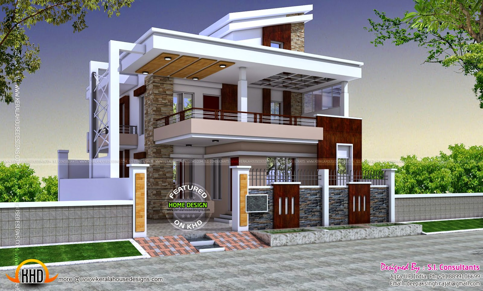 Indian model contemporary house kerala home design and for South indian model house plan
