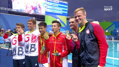 Britain's Tom Daley (L) and Dan Goodfellow (FL) win Olympic bronze in the men's synchronized 10m platform at Rio 2016.