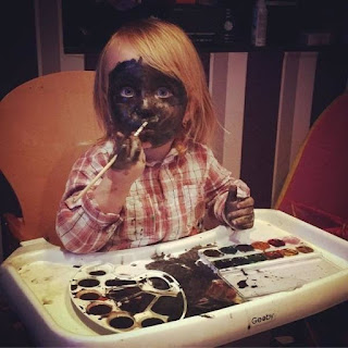 parenting fail self-painting child