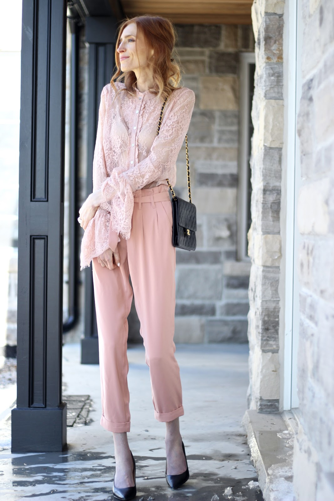 RW & Co blush trousers, pink lace bell sleeve top, Nine west pumps, vintage Chanel bag = Pink Spring Style