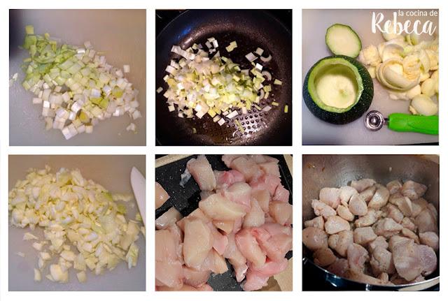 Receta de calabacín relleno de pollo y quinoa 02