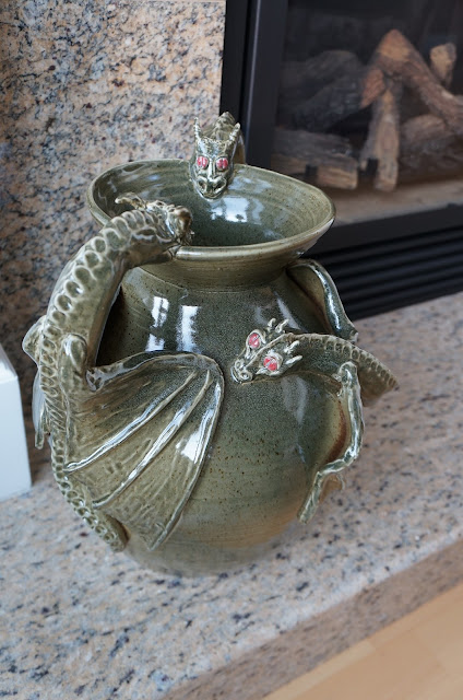 Huge hand thrown ceramic pot adorned in dragons, pottery by Lily L.