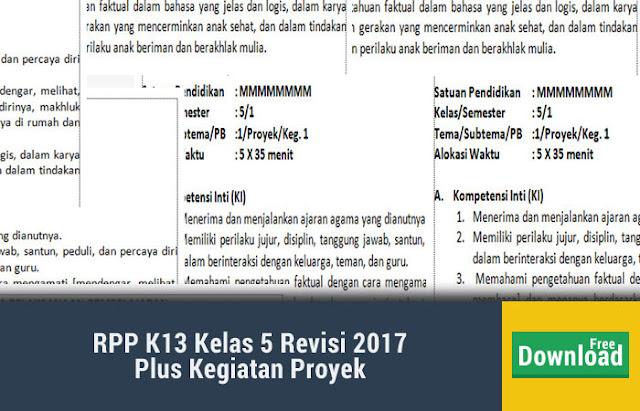 RPP K13 Kelas 5 Revisi 2017
