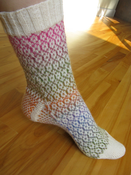 Ivory and Multicolored Pastel Knit Stranded Colorwork Sock