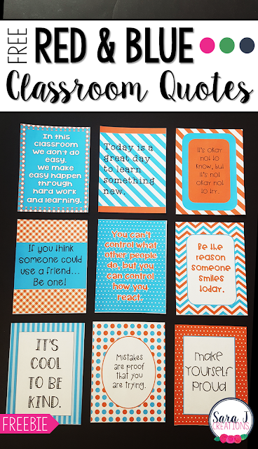 FREE printable classroom quotes in a red and turquoise blue theme