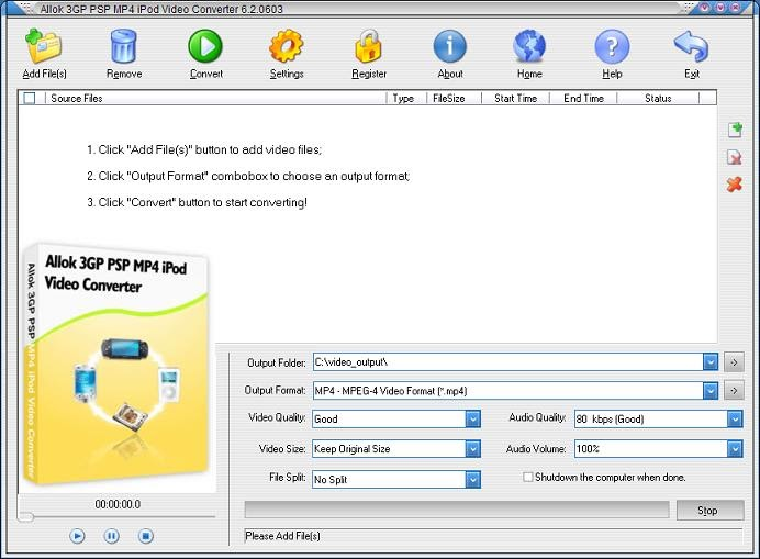 gratuitement allok 3gp psp mp4 ipod video converter
