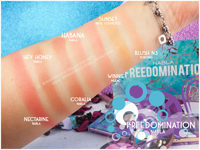 habana blossom comparazioni blush nabla cosmetics  recensione freedomination collection summer
