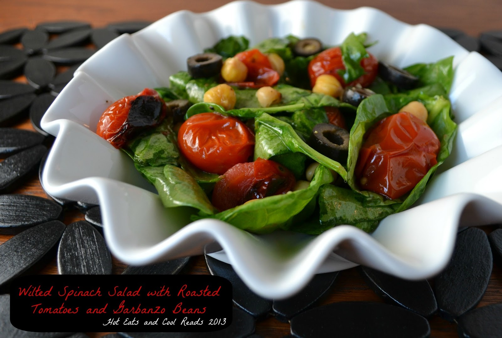 Wilted Spinach Salad With Roasted Tomatoes and Garbanzo Beans- 17 Healthy Salads That Don't Taste Like Rabbit Food. serenabakessimplyfromscratch.com