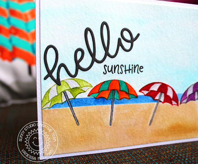 Sunny Studio Stamps: Beach Babies Hello Word Die Summer Themed Hello Card by Vanessa Menhorn