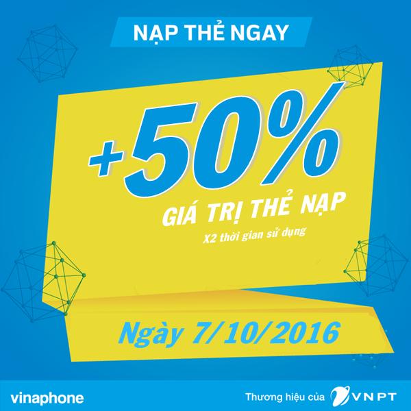 Vinaphone khuyến mãi 50% giá trị thẻ nạp ngày vàng 7/10/2016