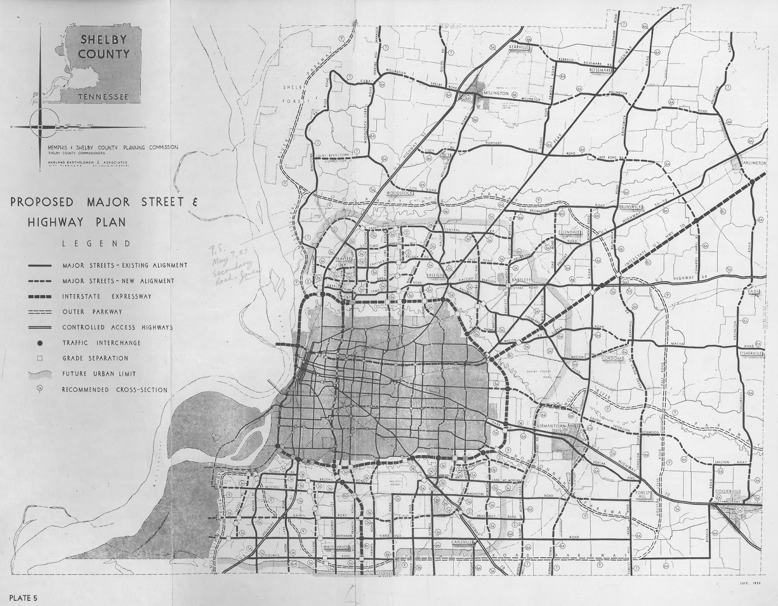 this highway plan from the 1955 comprehensive plan for the city of memphis shows more detailed alignments of the inner and outer expressway loops and the