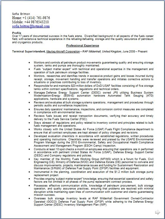 facilities officer sample resume node2001-cvresumepaasprovider
