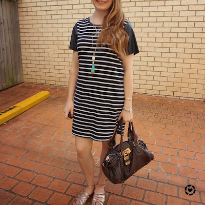 awayfromblue Instagram All About Eve black white striped tee dress Chloe Paddington brun bag