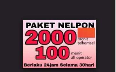 Cara Membeli paket Nelpon Telkomsel Bulanan Paket Nelpon Telkomsel 2000 Mnt Sesama Telkomsel + 100 Mnt All Opt Masa Aktif 1 Bulan