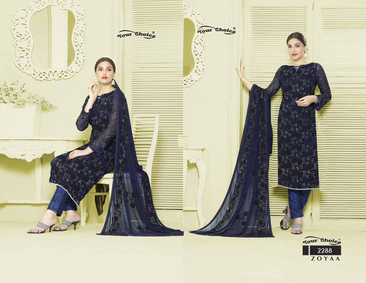 Zoyaa – Latest Pure Chiffon Churidar Dress Material Wholesale