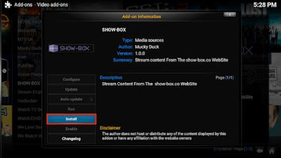 Showbox option there and click the install button