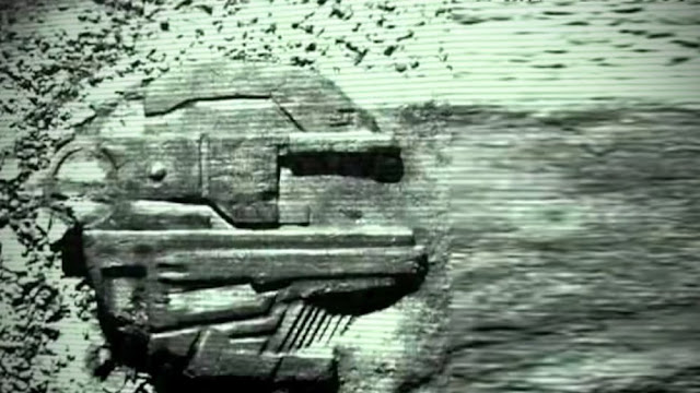 The Baltic Sea Anomaly UFO with the crash marks embedded in to the sea floor or sea bed behind it.
