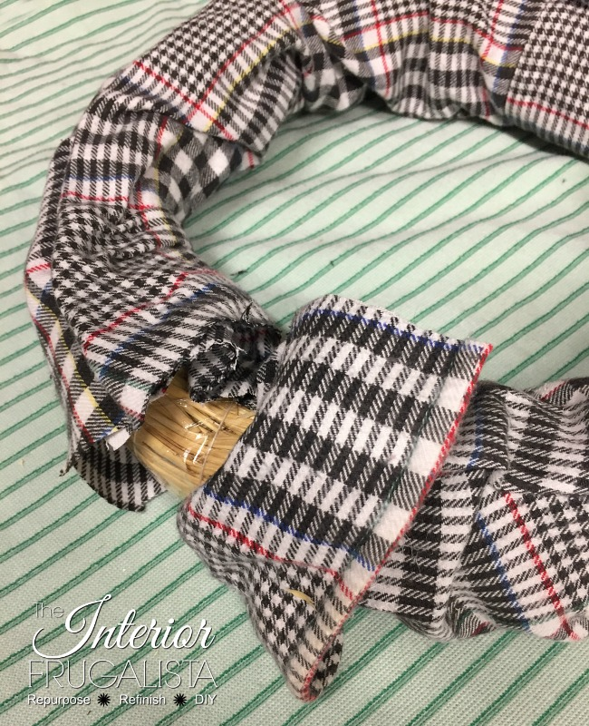 Joining shirt sleeves on DIY Fall Wreath