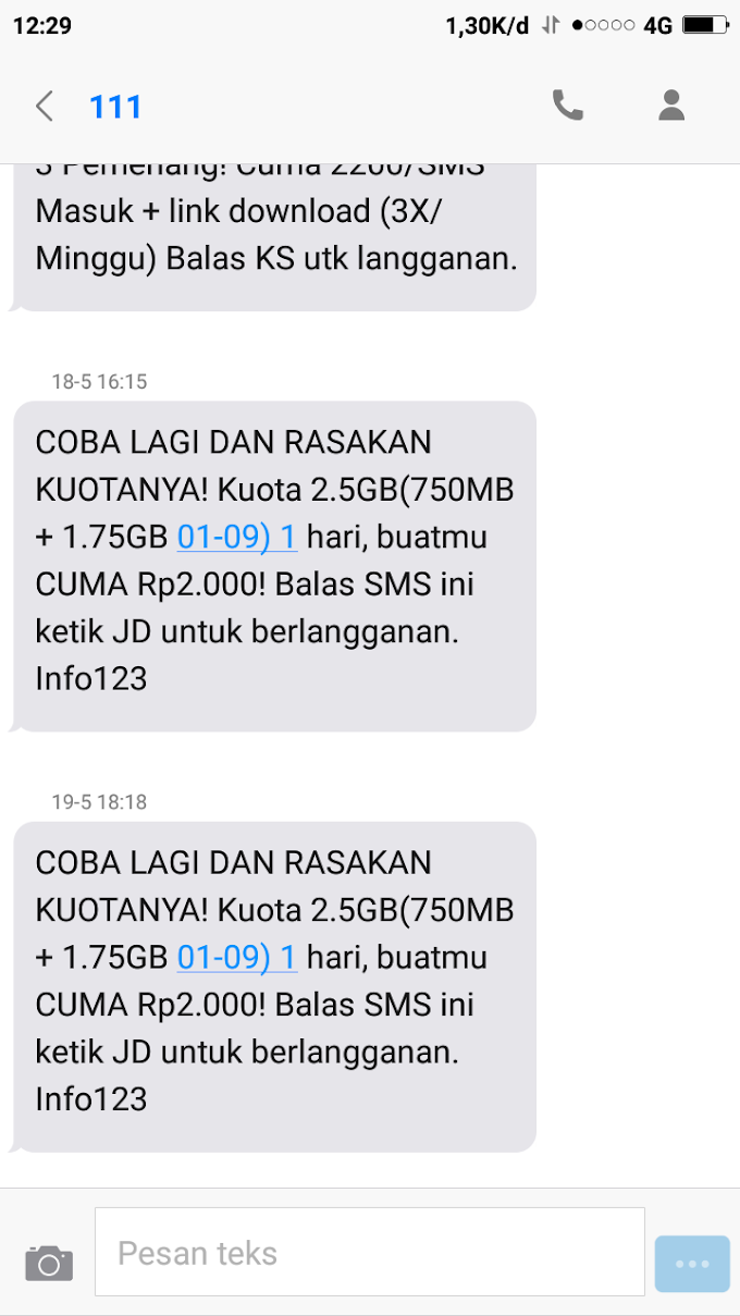 Cara daftar paket Internet tri 2.5 GB Rp 2.000