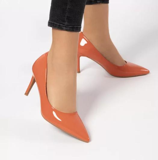 Pantofi stiletto eleganti de zi cu toc subtire Portocalii la reducere
