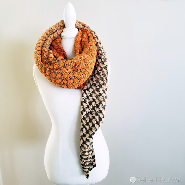 Duo Shawl--crochet pattern made with Scheepjes Whirls by Susan Carlson of Felted Button