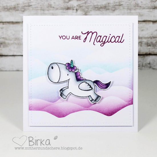 Birdie Brown Magical Unicorn stamp set and Die-namics - Birka Reinitz #mftstamps