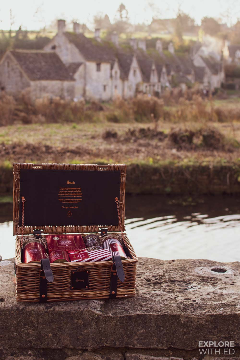 Luxury Harrods Christmas Hamper with a view of Arlington Row in The Cotswolds