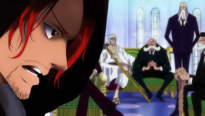 Kejadian yang sangat tidak terduga terjadi pada ending manga One Piece chapter  GOROSEI TAKUT!!! SHANKS MENGGERTAK PEMERINTAH DUNIA!