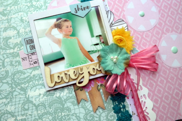 Mixed Media Ballet Scrapbook Layout with Butterflies and Flowers