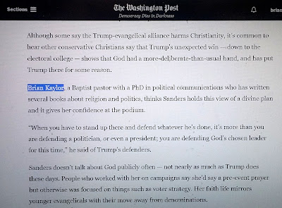 Quote in Washington Post on Faith & Sarah Huckabee Sanders