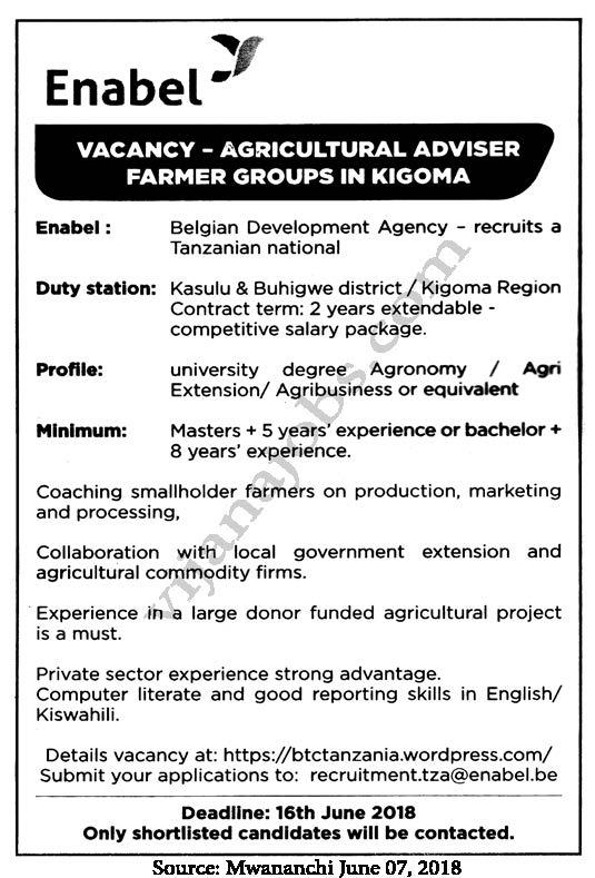 Job Opportunity at Enabel, Agricultural Adviser