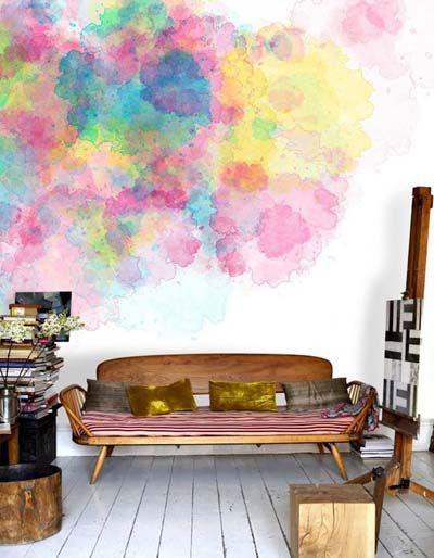 pintar las paredes con papel de acuarela watercolor pintado