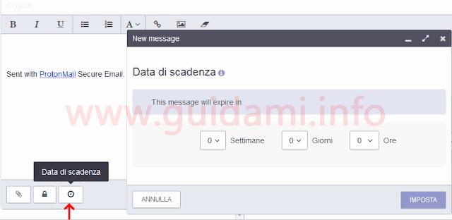 ProtonMail settare autodistruzione email