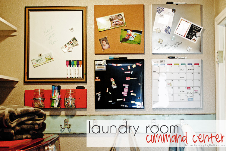 Laundry Room Command Center from ishouldbemoppingthefloor