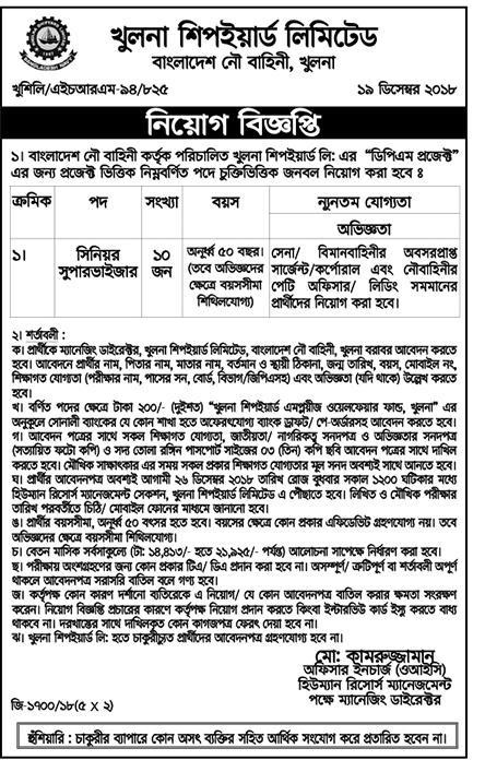 Khulna Shipyard Limited Job Circular 2018