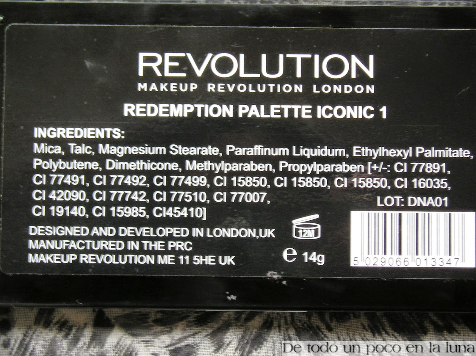 ingredientes paleta iconic 1 makeup revolution
