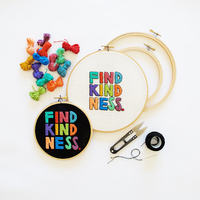 Find Kindness embroidery pattern by Sarah K. Benning, featured on Feeling Stitchy