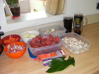 cooking ingredients for beef bourgignon with shallots
