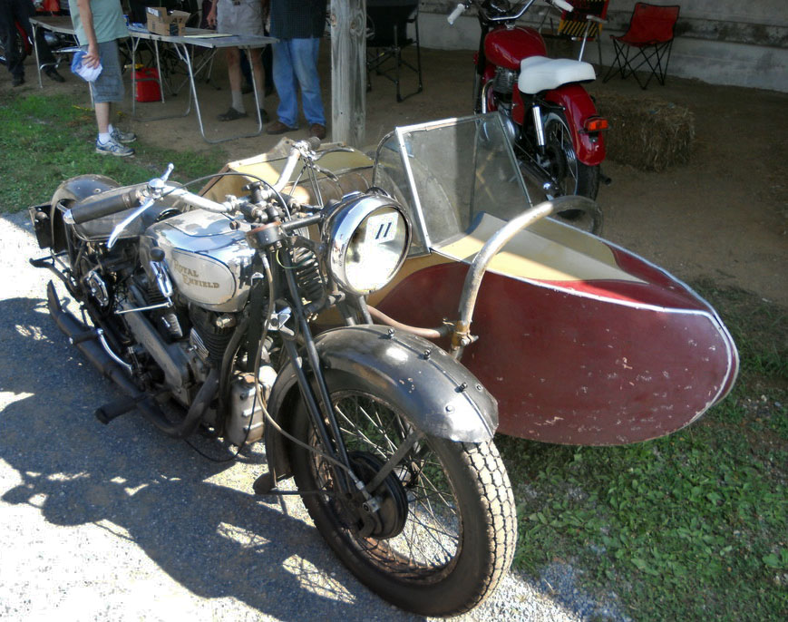 Royal Enfield with sidecar.
