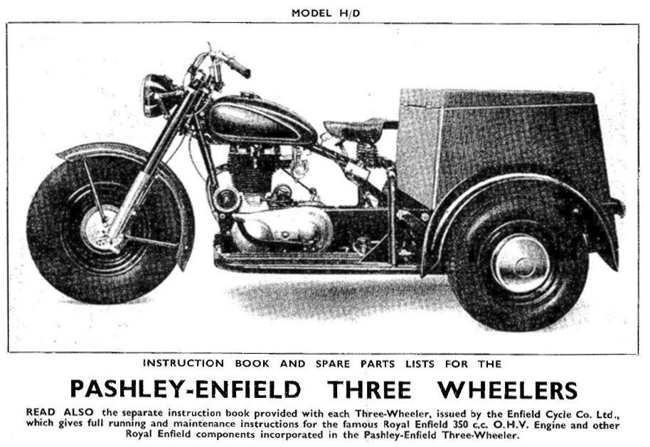 Three-wheeled motorcycle.