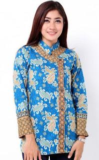 Desain Baju Batik Lengan Panjang Modern Wanita Muda