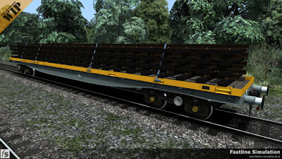Fastline Simulation: A YMA Mullet in engineers grey and yellow livery loaded with 4 prefabricated track panels.