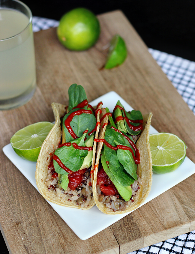 Jasmine Rice, Lentil, and Red Quinoa Tacos