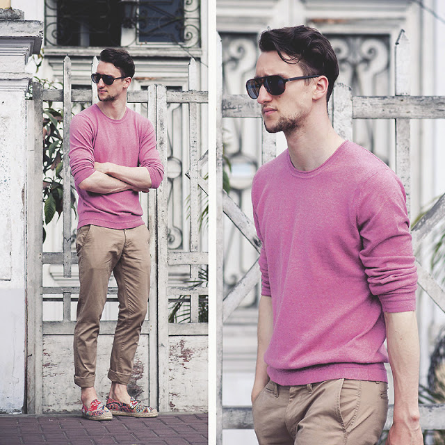Look masculino rosa com calça marrom bege (1)