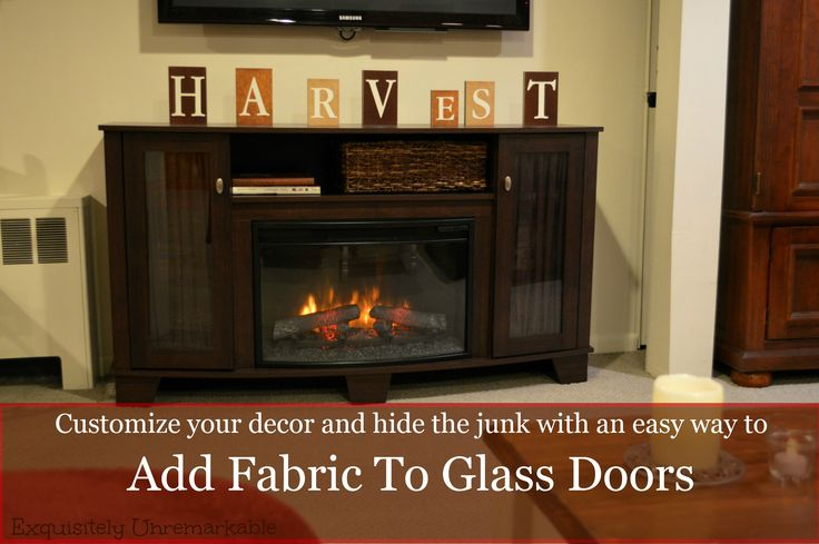 Adding Fabric To Glass Furniture Doors text over picture of fabric covered door cabinet